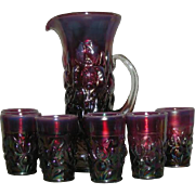 Gibson, Plum Opalescent, Heavy Iris, Carnival Glass Tankard Water Set