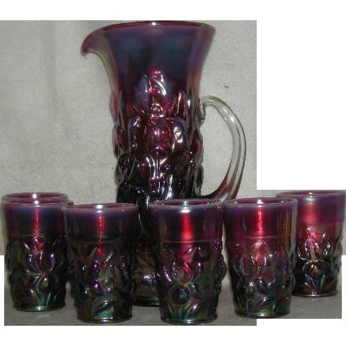 Gibson, Plum Opalescent, Heavy Iris, Carnival Glass Tankard Water Set