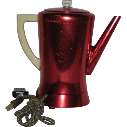 Red, West Bend, 8 Cup, Anodized Aluminum Coffee Pot