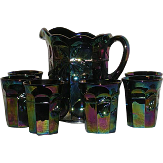 Mosser, Electric Amethyst, Cherry & Cable, 7 Pc., Carnival Glass Water Set