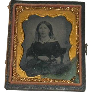 Small, Tin Type, Leather Bound Framed, Ladies Picture