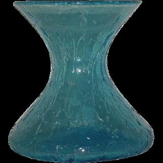 Blue, Hand Blown, Crackle Glass Vase
