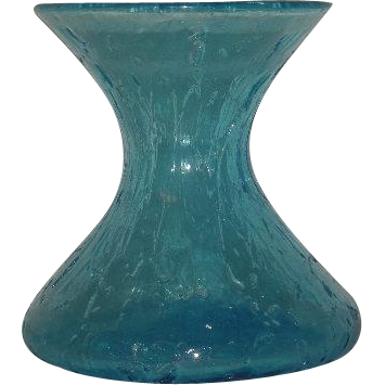 Blue, Hand Blown, Crackle Glass Vase