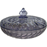 Indiana /Tiara, Blue, Swirl Pattern Covered Candy Dish