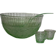 Tiara, Chantilly Green, Sandwich Pattern, 14 Pc. Punch Bowl Set