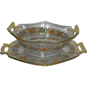 Heisey, Octagon, Gold & Floral Decorated Mayonaise Set