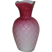 Red, Mt. Washington, Satin, Diamond Quilt Vase