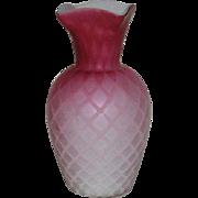 Red, Mt. Washington, Satin, Diamond Quilt Vase