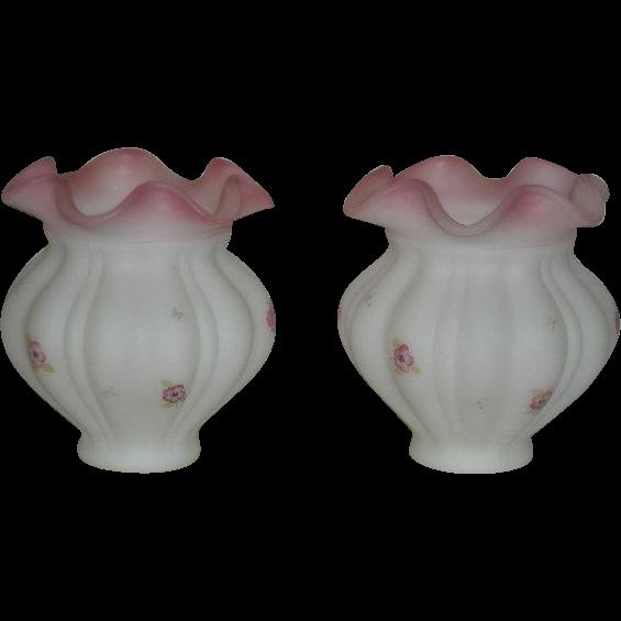 Pair, Fenton, Satin Rosalene, Berries & Blossoms Vases