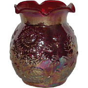 Red, Imperial, Sunflower, Carnival Glass Vase