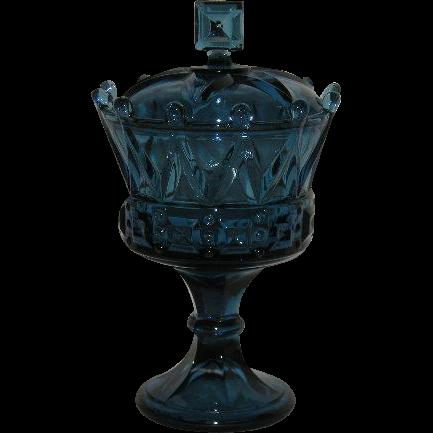 Fenton/Tiara, Cobalt Blue, Crown, Covered Chalice