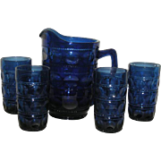 Fenton/Tiara, Cobalt Blue, 5 Pc. Kings Crown Water Set