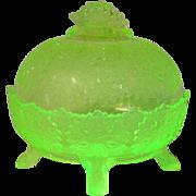 Gillinder & Sons, Vaseline, Maple Leaf Butter Dish