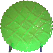 "Northwood, Grapevine Lattice, Custard Glass 7"" Plate"