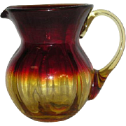 Hand Blown, Amberina Art Glass Pitcher