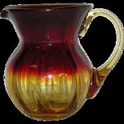 Hand Blown, Amberina Art Glass Pitcher