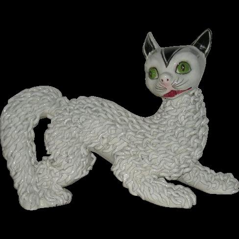 Italian Porcelain, Spaghetti Lace, Cat Figurine