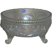 Imperial, White, Lustre Rose, Carnival Glass Fernery Bowl