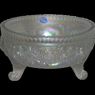 Imperial, White, Lustre Rose, Carnival Glass Fernery Bowl