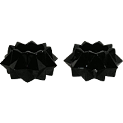Pair, Black, Indiana Glass, Heavy Diamond Candle Holders