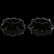 Pair, Black, Indiana Glass, Heavy Diamond Candle Holders