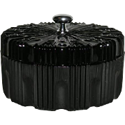 Black, Indiana Glass Co., Ribbed, Covered Powder Box