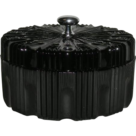 Black, Indiana Glass Co., Ribbed, Covered Powder Box