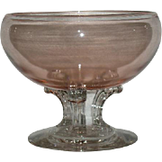 Large, Pink & Clear, Pedestal Footed Bowl