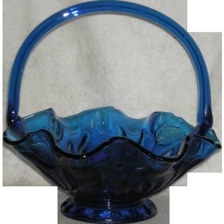 Large, Indiana Glass/Tiara, Cobalt Blue Tulip Basket