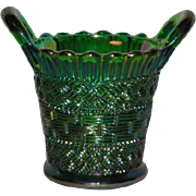 Emerald Green, Mosser, Carnival Glass Beaded Basket