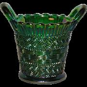 Emerald Green, Mosser, Carnival Glass Beaded Basket