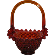 "Mosser, Red/Orange, Hobnail 7"" Basket"