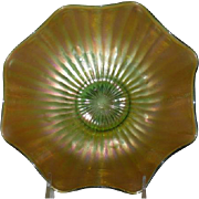 Northwood, Green, Smooth Rays Carnival Glass Bowl