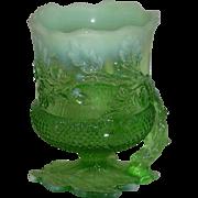 Mosser, Green Opalescent Acorn Spooner