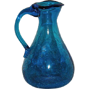 Small, Sapphire Blue, Crackle Glass Pitcher