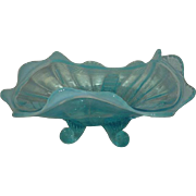 Northwood, Blue Opalescent, Fluted Scrolls Novelty Bowl