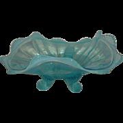 Northwood, Blue Opalescent, Fluted Scrolls Novelty Bowl