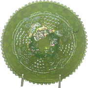 Northwood, Green, Grape & Cable Carnival Glass Plate