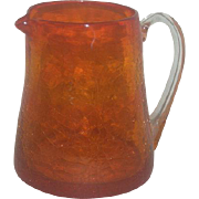 Small, Blenko, Orange, Crackle Glass Pitcher