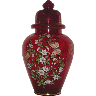 Large, Red, Gold & Enamel Decorated, Art Glass Ginger Jar