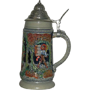 West German, Lidded, Hand Decorated Stein