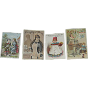 Set of 4, Victorian Lithograph Advertising Cards