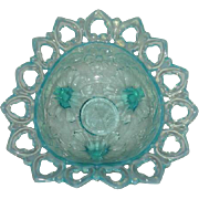 Northwood, Blue Opalescent, Shells & Wild Rose Tri-Cornered Bowl