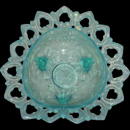 Northwood, Blue Opalescent, Shells & Wild Rose Tri-Cornered Bowl
