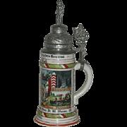 Large, Regimentry, German, Beer Stein w/Pewter Lid