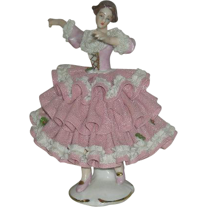 Porcelain, Lacy Dressed Dancing Lady Figurine