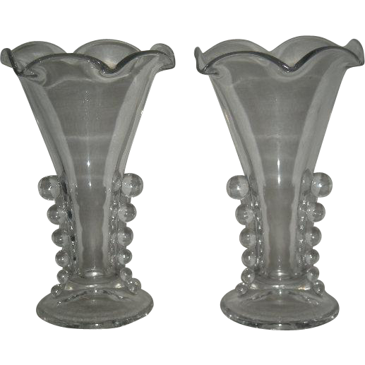 """Pair, Imperial, Candlewick 8"""" Flared & Ruffled Vases"""