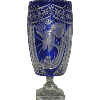 Large, Lead Crystal, Blue Cut To Clear, Signed Art Glass Vase