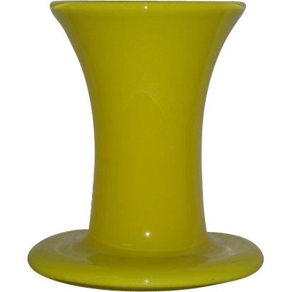 Hand Blown, Bright Yellow Cased Glass, Signed, Art Glass Vase