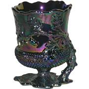 Mosser, Electric Amethyst Carnival Glass, Acorn Spooner
